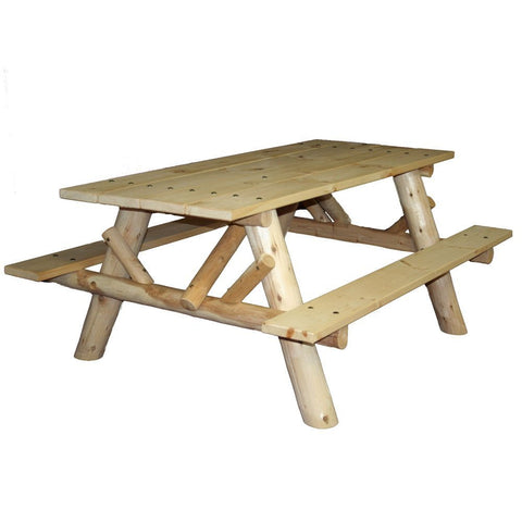 Lakeland Mills Cedar Log 6-Foot Picnic Table with Attached Benches - Picnic Table - Shop Patios