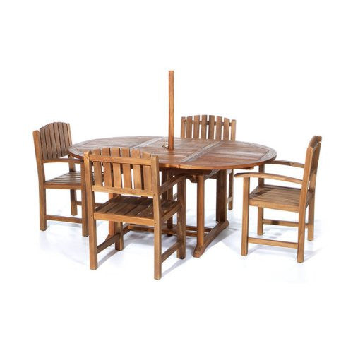 All Things Cedar 5 Piece Oval Shape Dining Set - Outdoor Dining Sets - Shop Patios
