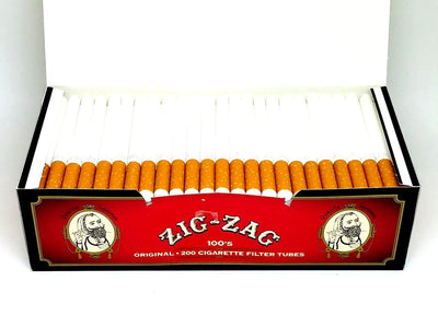 Zig Zag Red 100mm Size Cigarette Full Flavor Tubes Box 200 count Filter Tube NEW