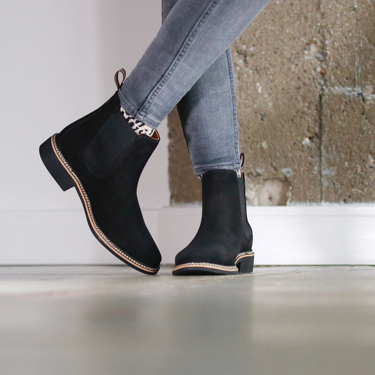 Chelsea boots women black genuine leather women shoes ankle boots