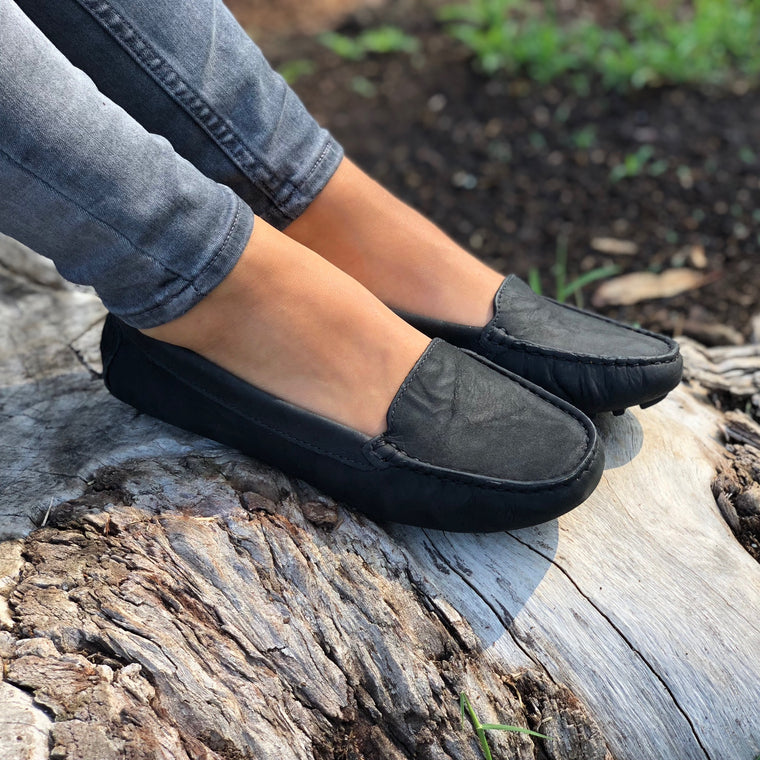 Genuine leather loafers women black