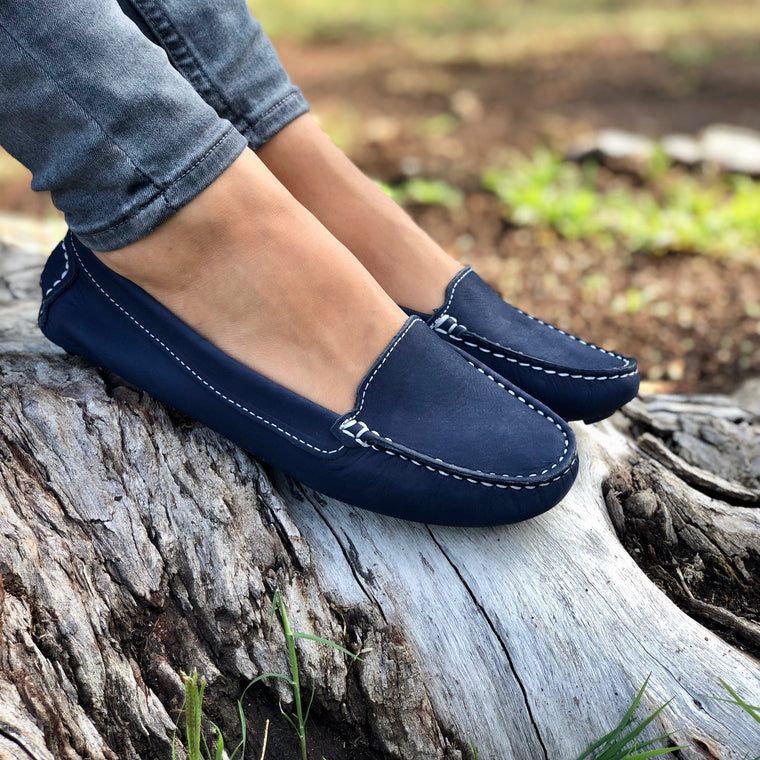 Genuine leather loafers women blue navy nature summer