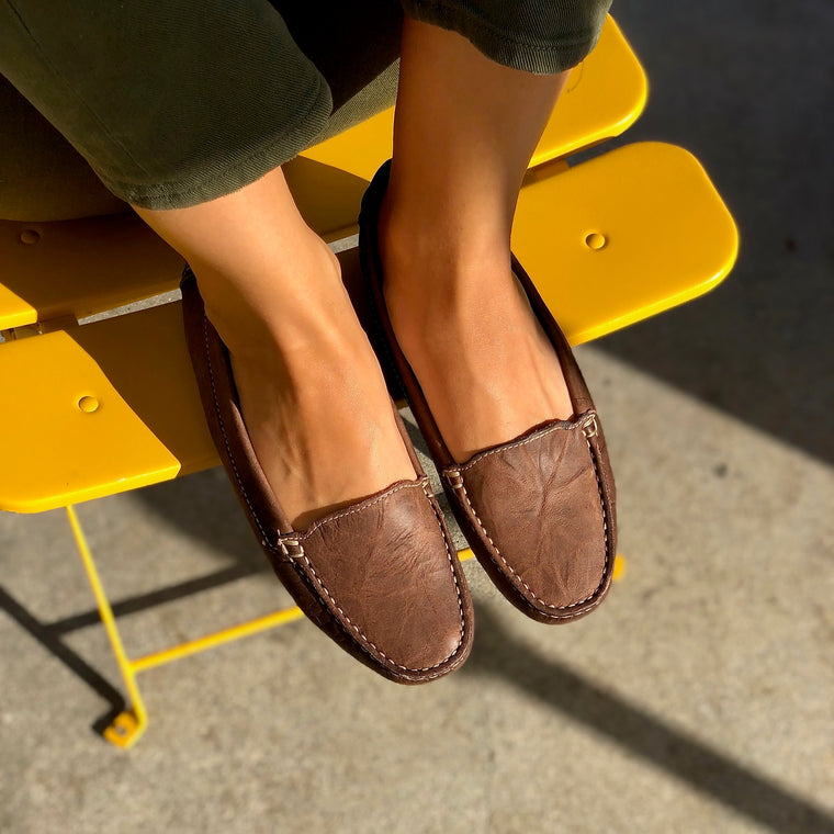 DE WULF Footwear, women loafers, women leather loafers, women moccasins, brown moccasins for women, brown loafers for women, comfortable women loafers, comfortable shoes for women