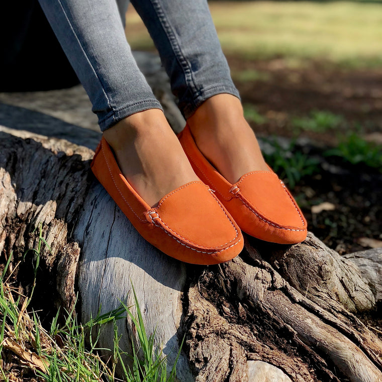 DE WULF Footwear, women loafers, women leather loafers, women moccasins, orange moccasins for women, orange loafers for women, comfortable women loafers, comfortable shoes for women