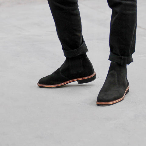 genuine leather chelsea boots men black