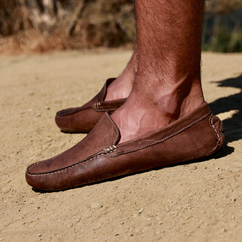 Driving loafers men brown genuine leather shoes los angeles