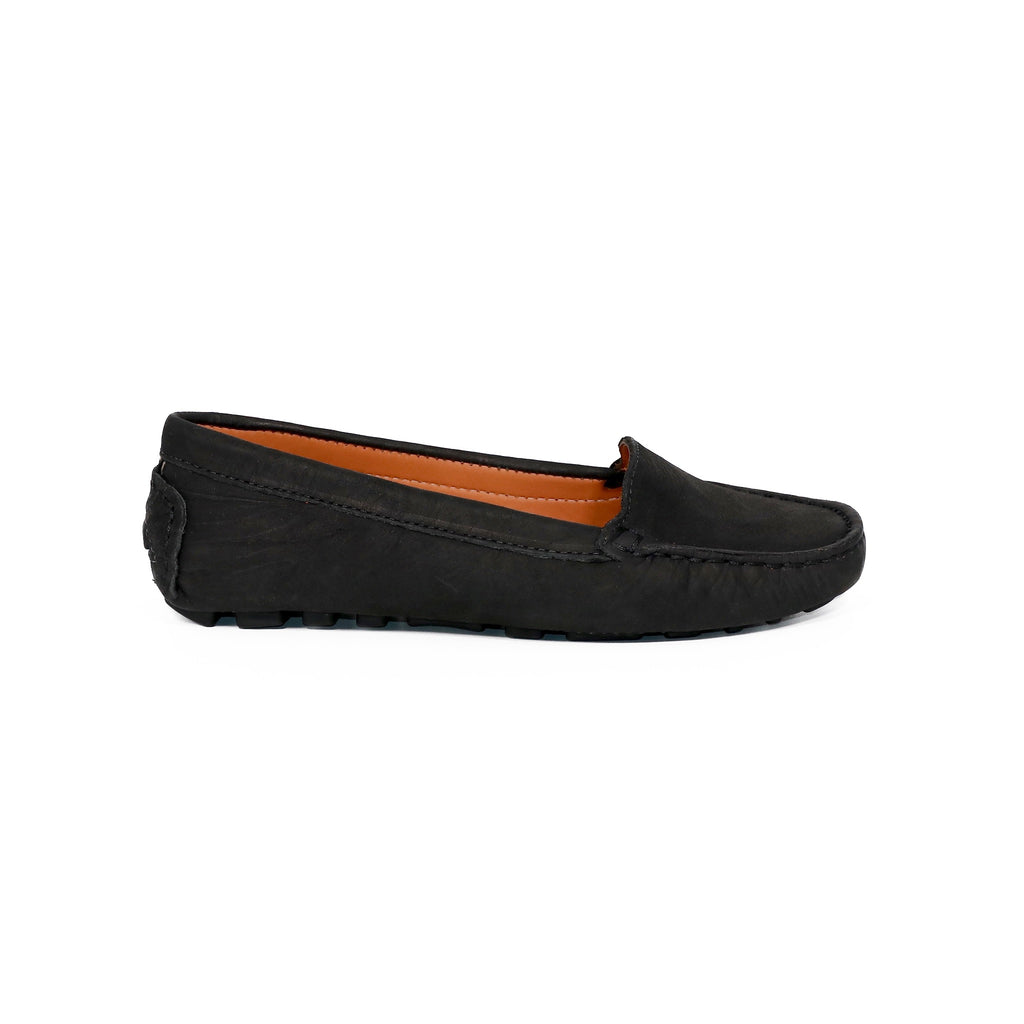 Genuine leather loafers women black elegant timeless