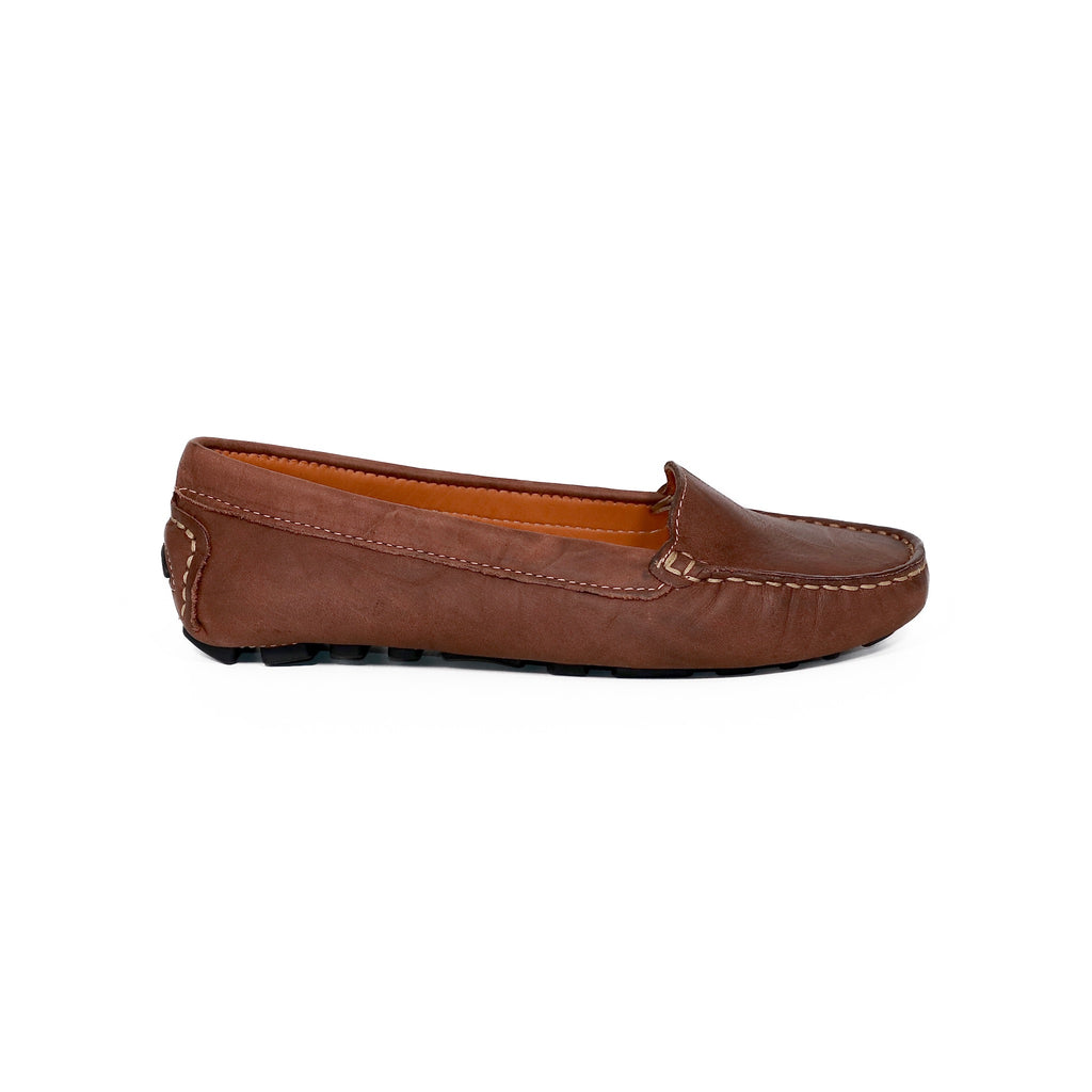 Genuine leather loafers women brown affordable shoes