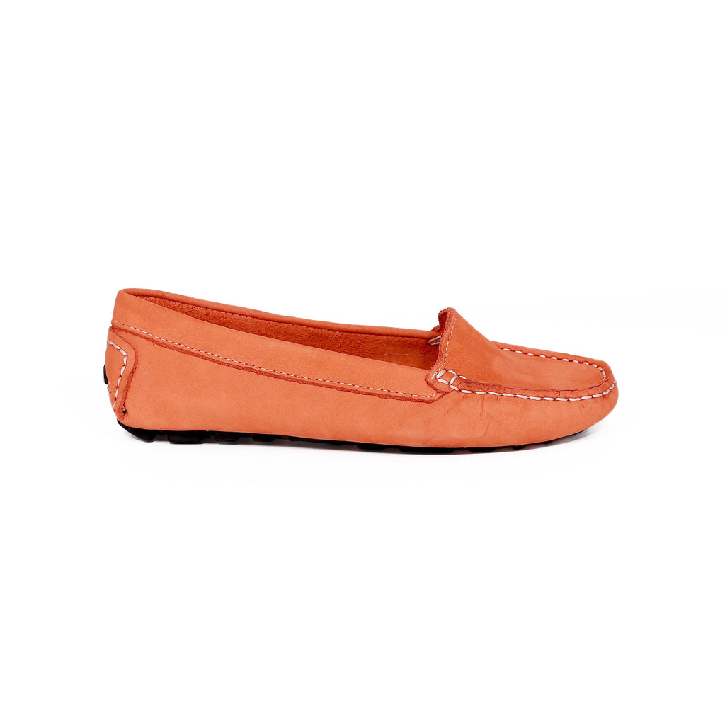 Genuine leather loafers women orange summer elegant timeless