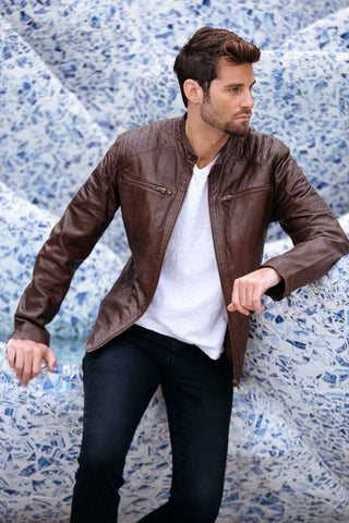 brown leather jacket men
