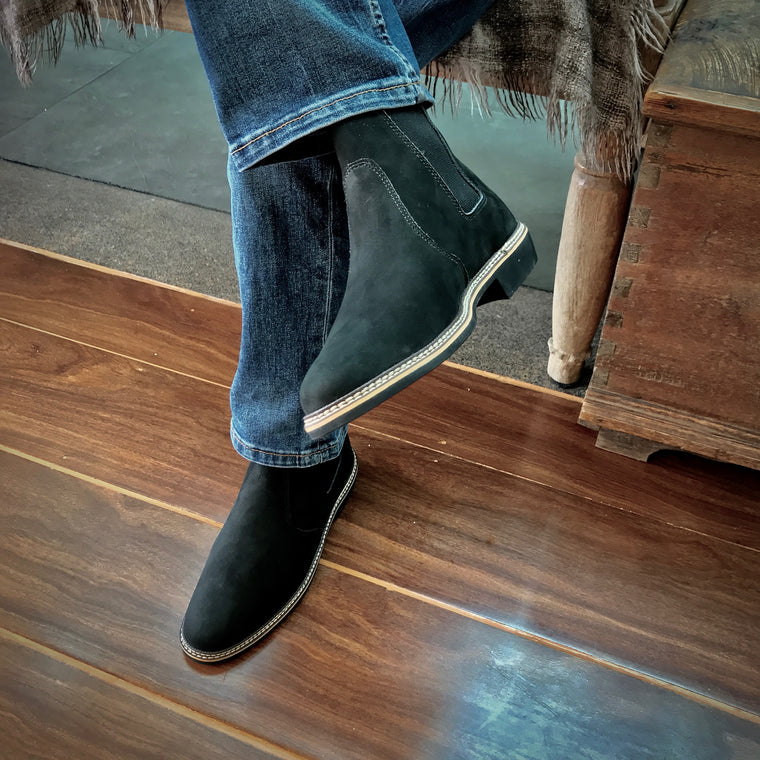 genuine leather chelsea boots men black jeans