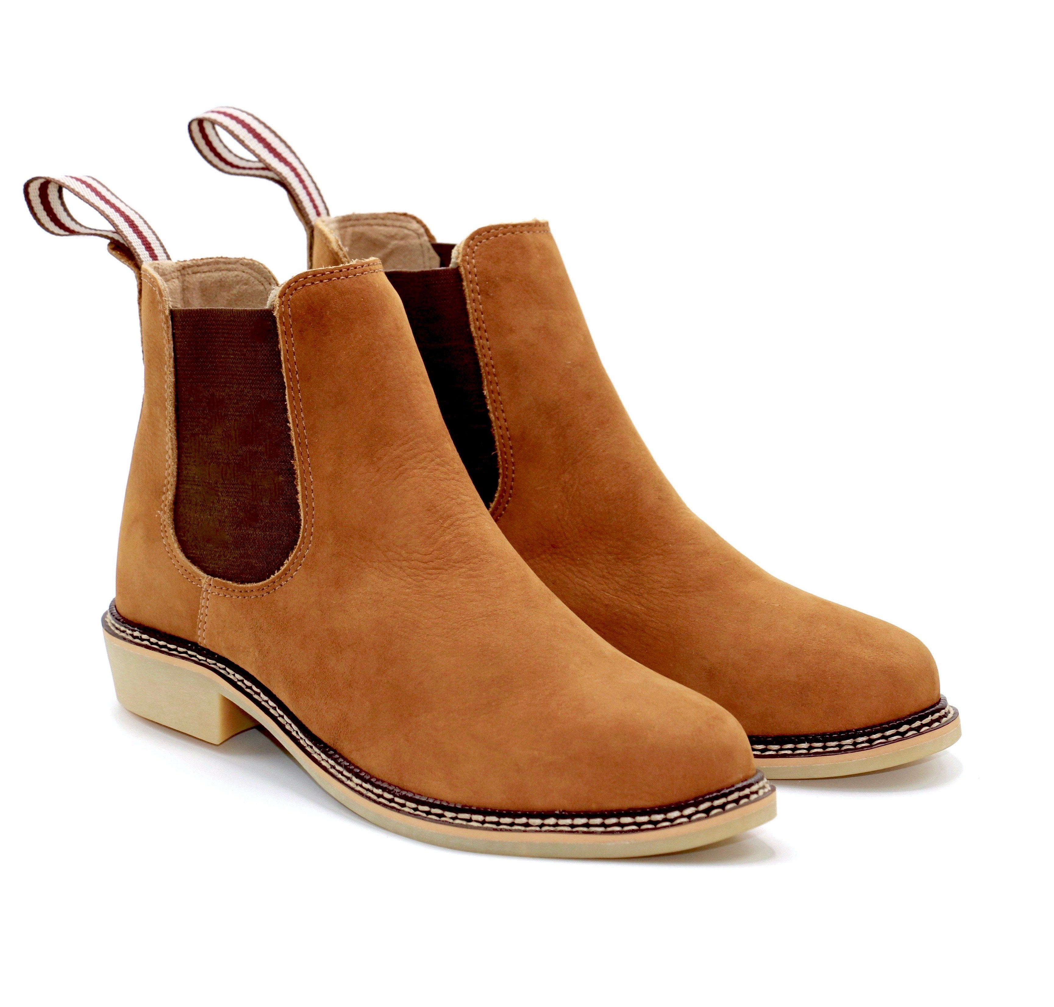 6fa55f13c824a ... Genuine chelsea boots women genuine leather light brown comfortable  shoes travel ...