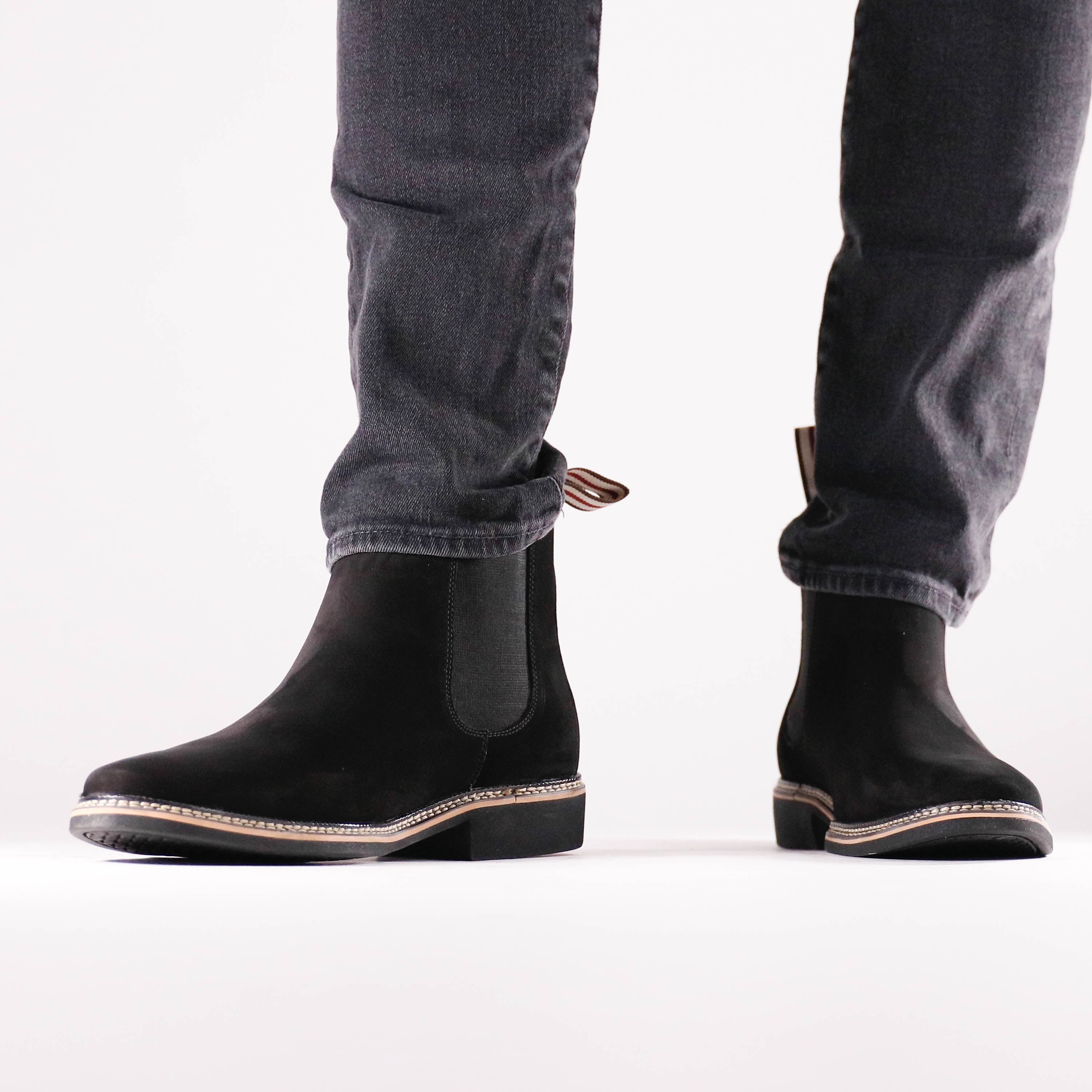 leather black chelsea boots mens