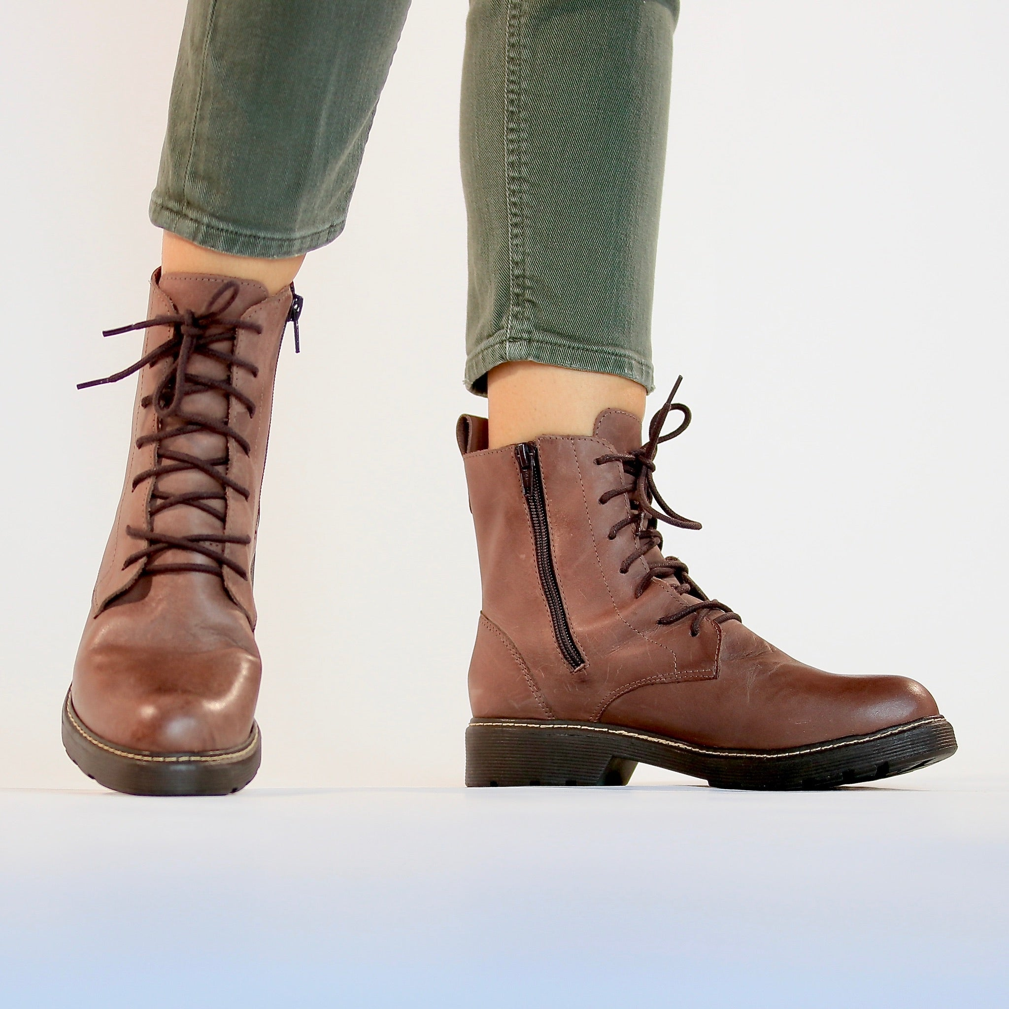 Womens Brown Leather Ankle Boots