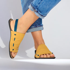 De Wulf Footwear, women sandlas, women yellow sandals, Yellow sandals, Comfortable shoes, women shoes, unique sandals, leather sandals