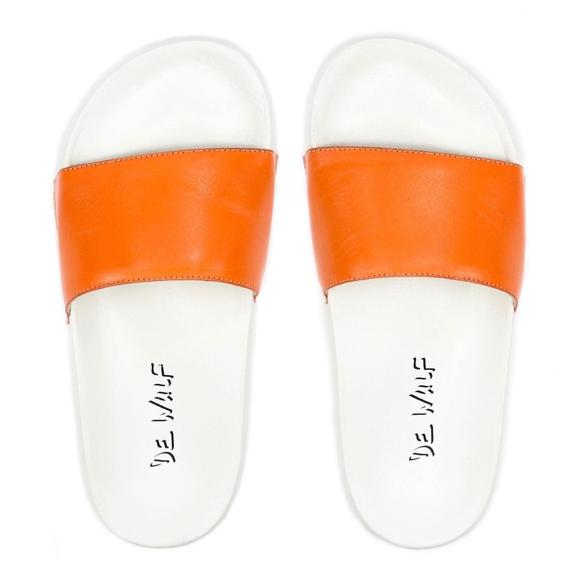 De wulf footwear, de wulf shoes, dewulf, men shoes, men slides, men flip flops, men leather shoes, men orange slides, orange flip flops