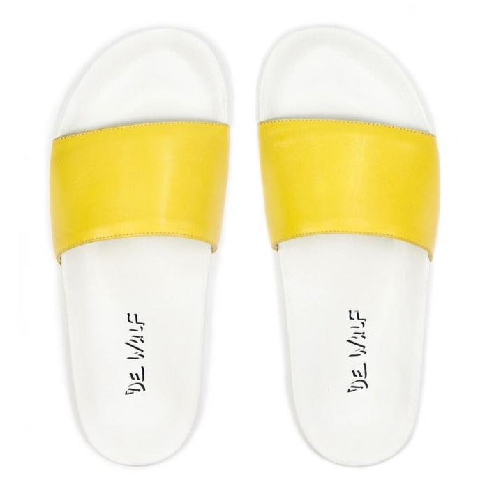 De wulf footwear, de wulf shoes, dewulf, men shoes, men slides, men flip flops, men leather shoes, men yellow slides, yellow flip flops