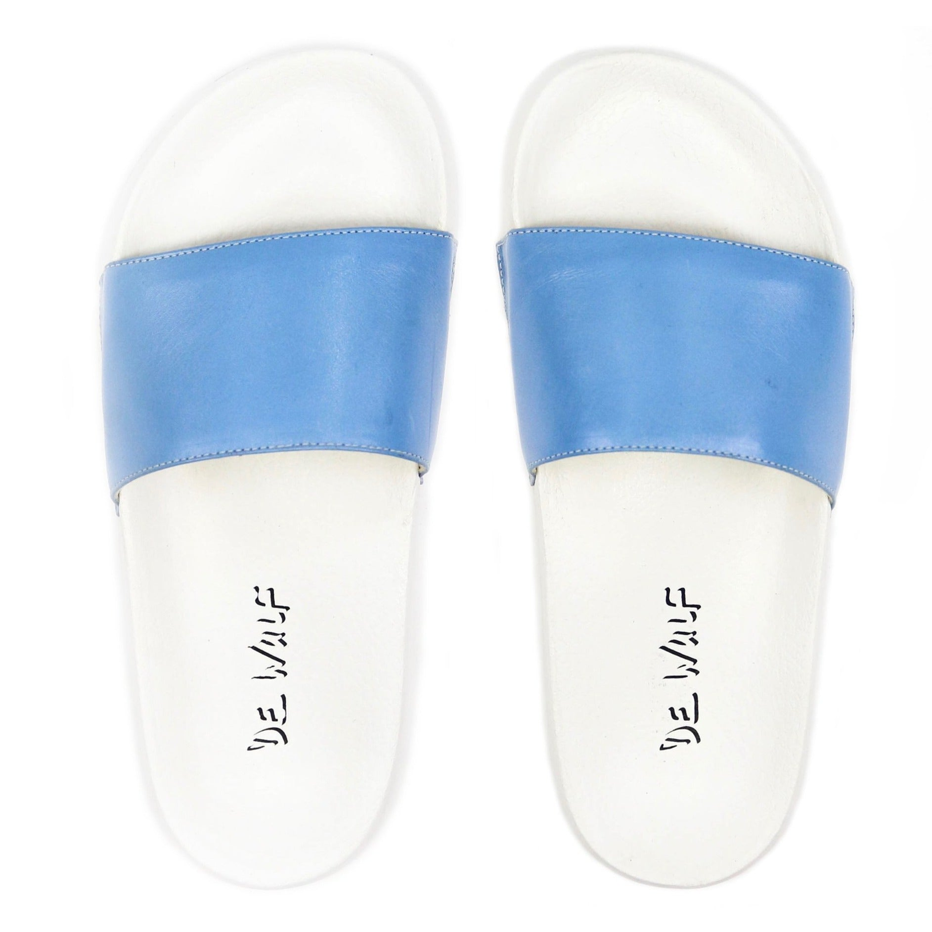 Men's Blue Leather Sandal Slides by Bernard DE WULF®