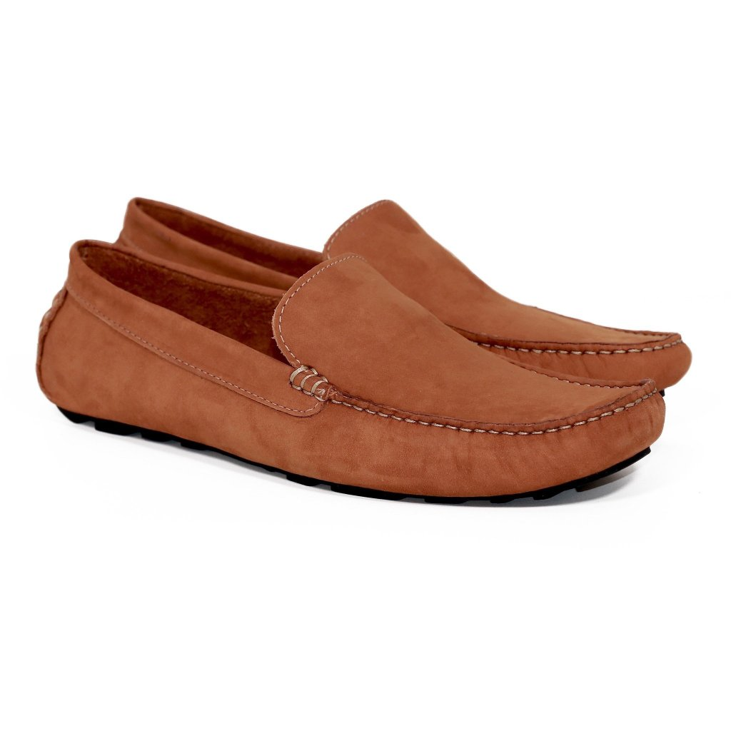 d780aa4bca403 ... Genuine Leather Loafers Men Light Brown Casual ...