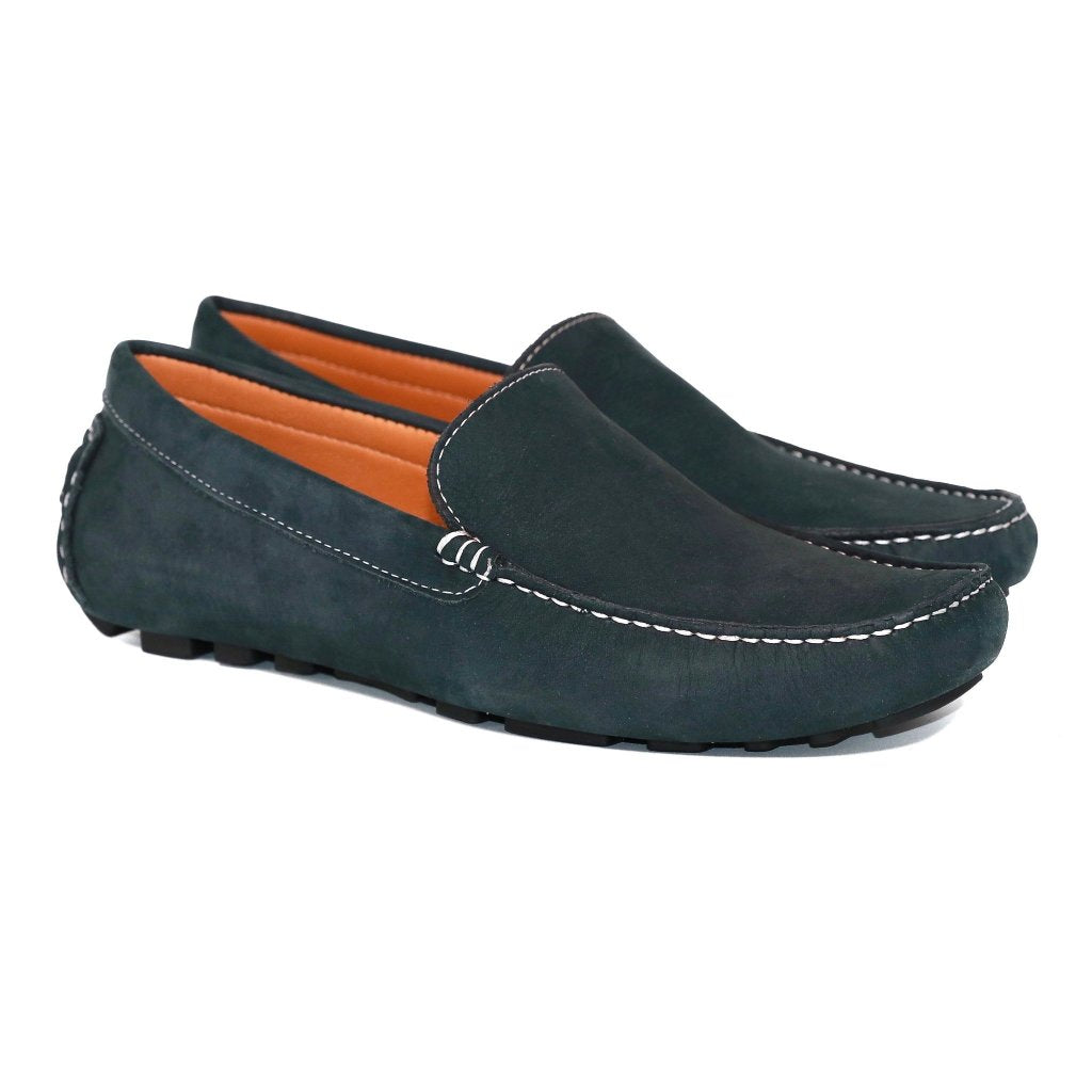 fcde1b31e35 ... Genuine Leather Loafers Men Navy Blue Nubuck Leather Loafer ...