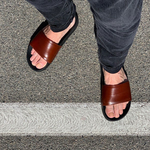 DE WULF Footwear, Men slides, genuine leather slides, brown slides, men flip flops, leather flip flops