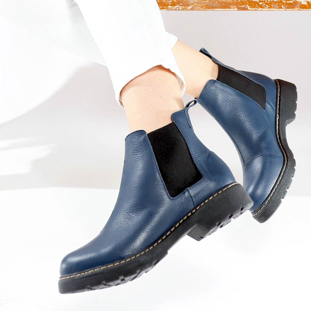 Women's Navy Ankle Boots by Designer