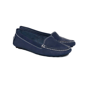 DE WULF Footwear, navy leather loafers women, navy casual style moccasins, women driving loafers, navy shoes for women, summer shoes women, comfortable shoes women