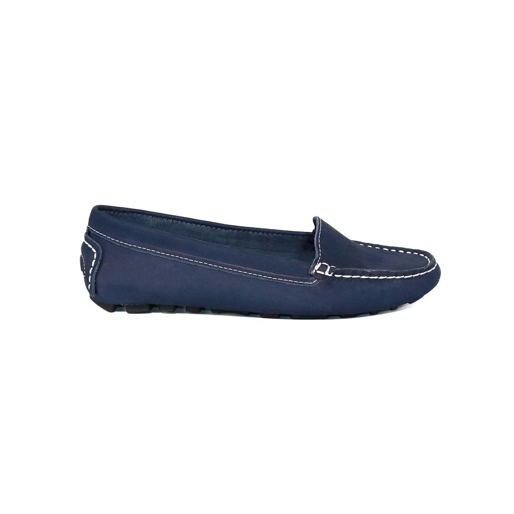 37adf5a03d2 ... Genuine Leather Loafers Women Navy Blue ...