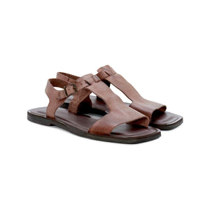 DE WULF Footwear, brown leather sandals, brown women sandals, women summer sandals, comfortable sandals, casual sandals for women, women shoes, women leather shoes, women summer outfit, slip on sandals, flat sandals women, sandals with dress, gladiator sandals women