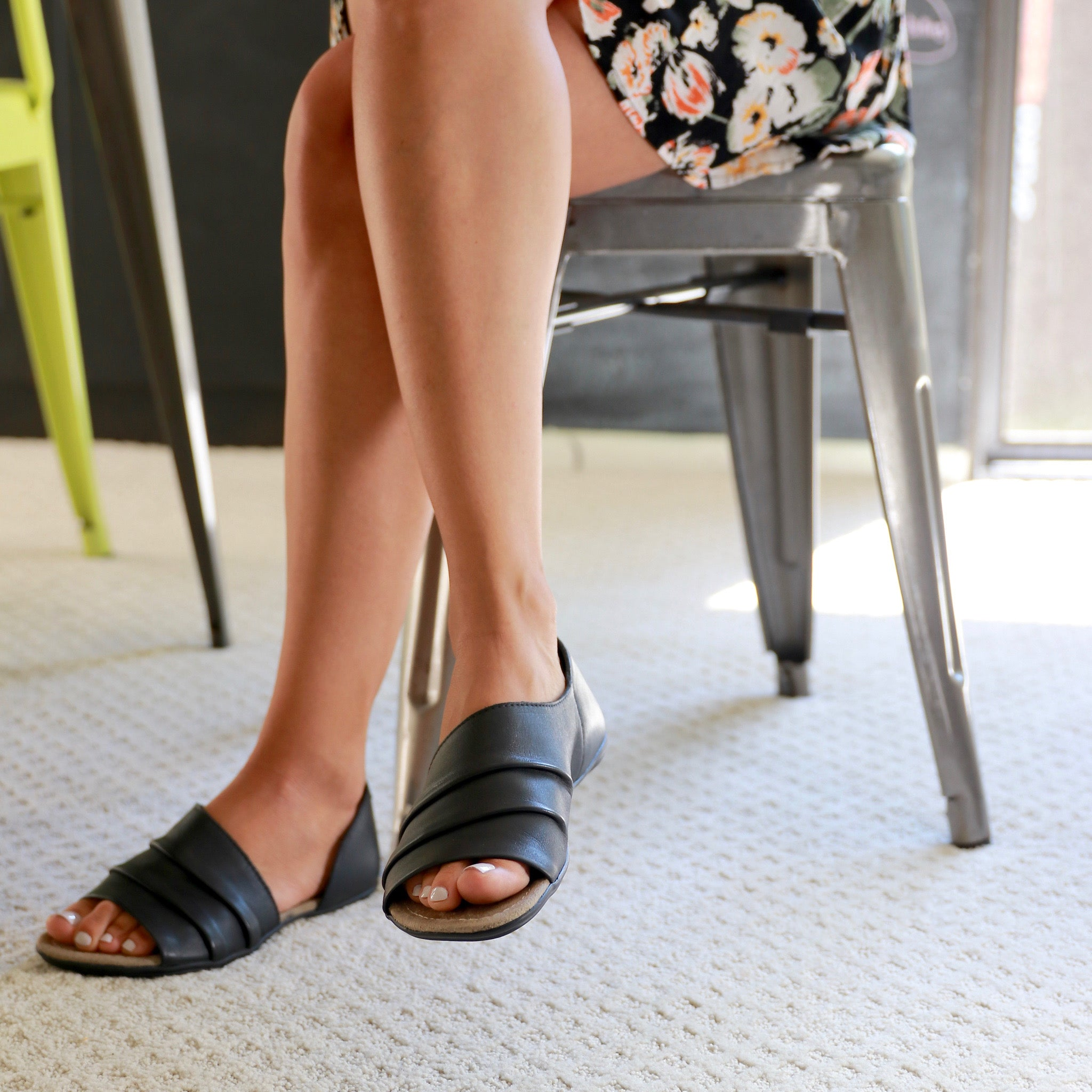 Leather Sandals for Women Black