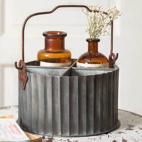 Wild West Living Corrugated Metal Divided Caddy with Handle