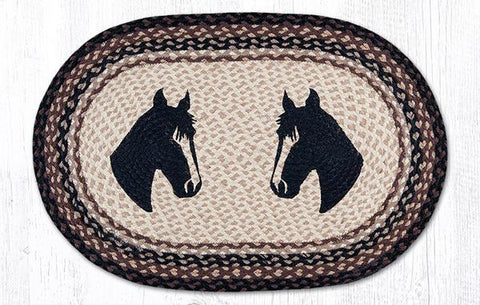 Wild West Living Two Horse Heads Jute Oval Rug