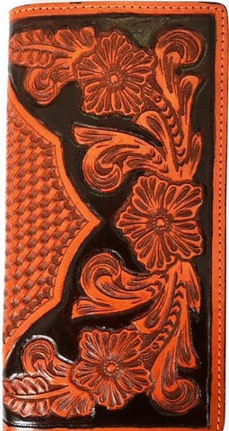 Wild West Living Western Black Tan Floral Basketweave Leather Rode Wallet Checkbook Cover