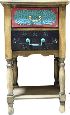 Wild West Living Western Double Drawer Antique Table Nightstand