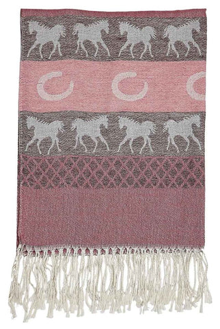 Wild West Living Horses and Horsehoes Pashmina & Silk Scarf