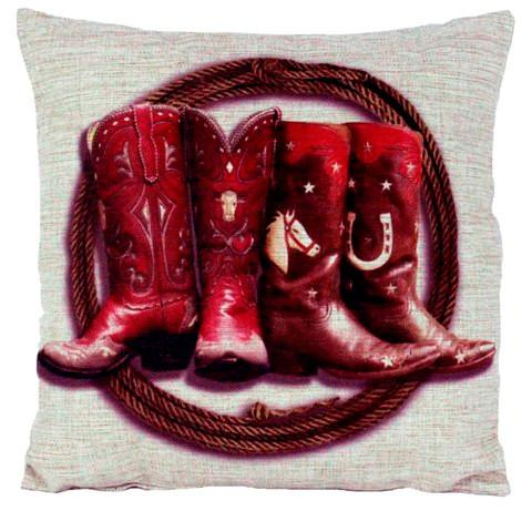 "Wild West Living ""Two Pairs of Boots"" Western Burlap Accent Pillow"