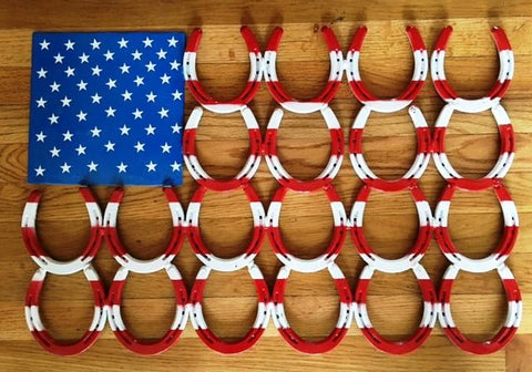 Wild West Living American Flag Welded Horseshoes Wall Art