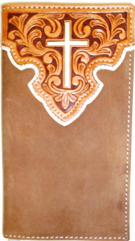 Wild West Living Western Leather Suede Rodeo Wallet/Checkbook Cover with Cross