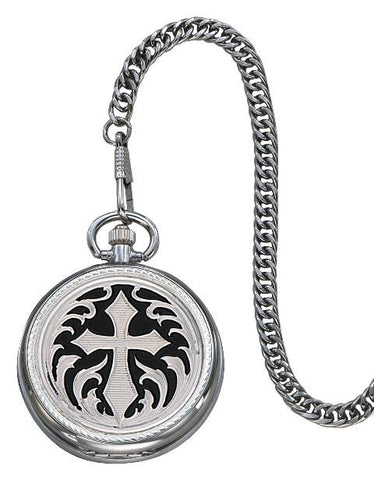Wild West Living Silver Cross Pocket Watch