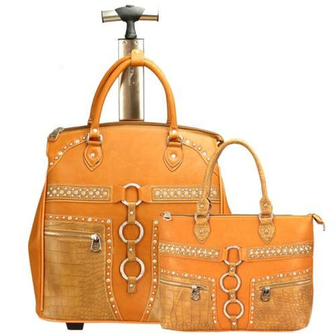 "Wild West Living Brown ""Ridem' Cowgirl"" Western 2-Piece Luggage Set"
