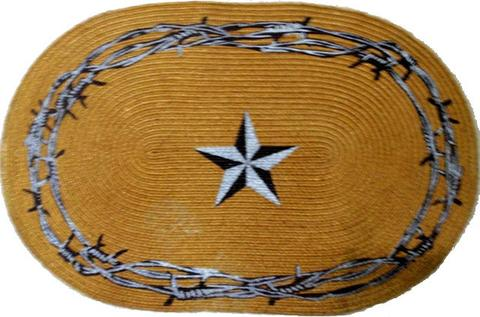 Wild West Living Western Star and Barbwire Jute Rug