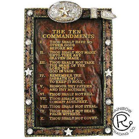 Wild West Living Western Ten Commandments Sign with Easel
