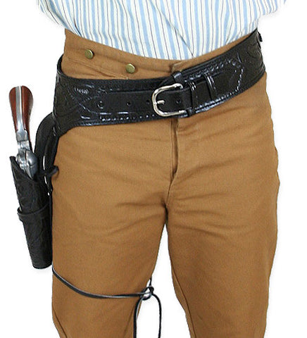 Hand Tooled Leather Gun Belt with Single Holster -  38 Caliber