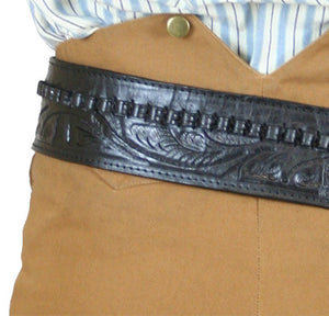 Hand Tooled Leather Gun Belt with Single Holster - .38 Caliber