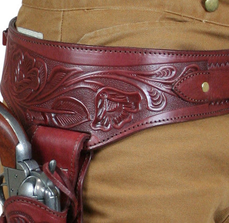 Hand Tooled Leather Gun Belt with Single Holster -  22