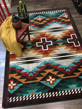 "Load image into Gallery viewer, ""Rustic Cross - Electric"" Southwestern Area Rugs - Choose from 6 Sizes!"