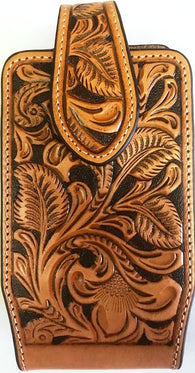 Western Tan Floral Tooled Leather Cell Phone Holder - Fits iPhone 8 Plus