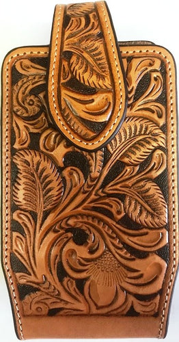 Western Tan Floral Tooled Leather Cell Phone Holder - Fits iPhone 6/7/8/X