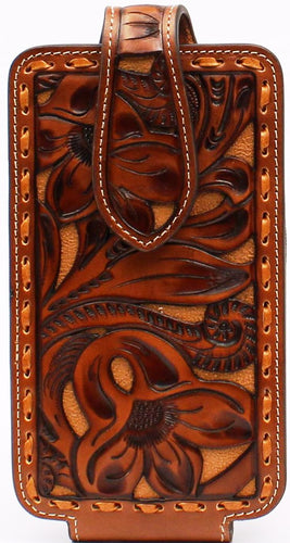 Western Tan Floral Tooled Leather Cell Phone Holder with Buck Lacing- Fits iPhone 6/7/8/X