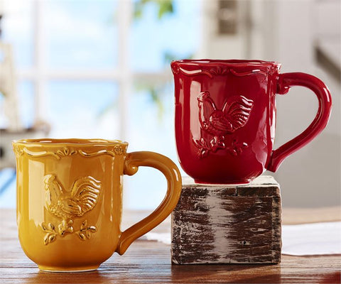 Ceramic Rooster Mugs - 2 Piece Assorted